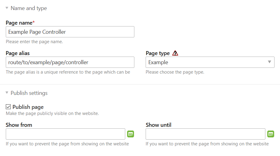 Custom page type in the Contao back end