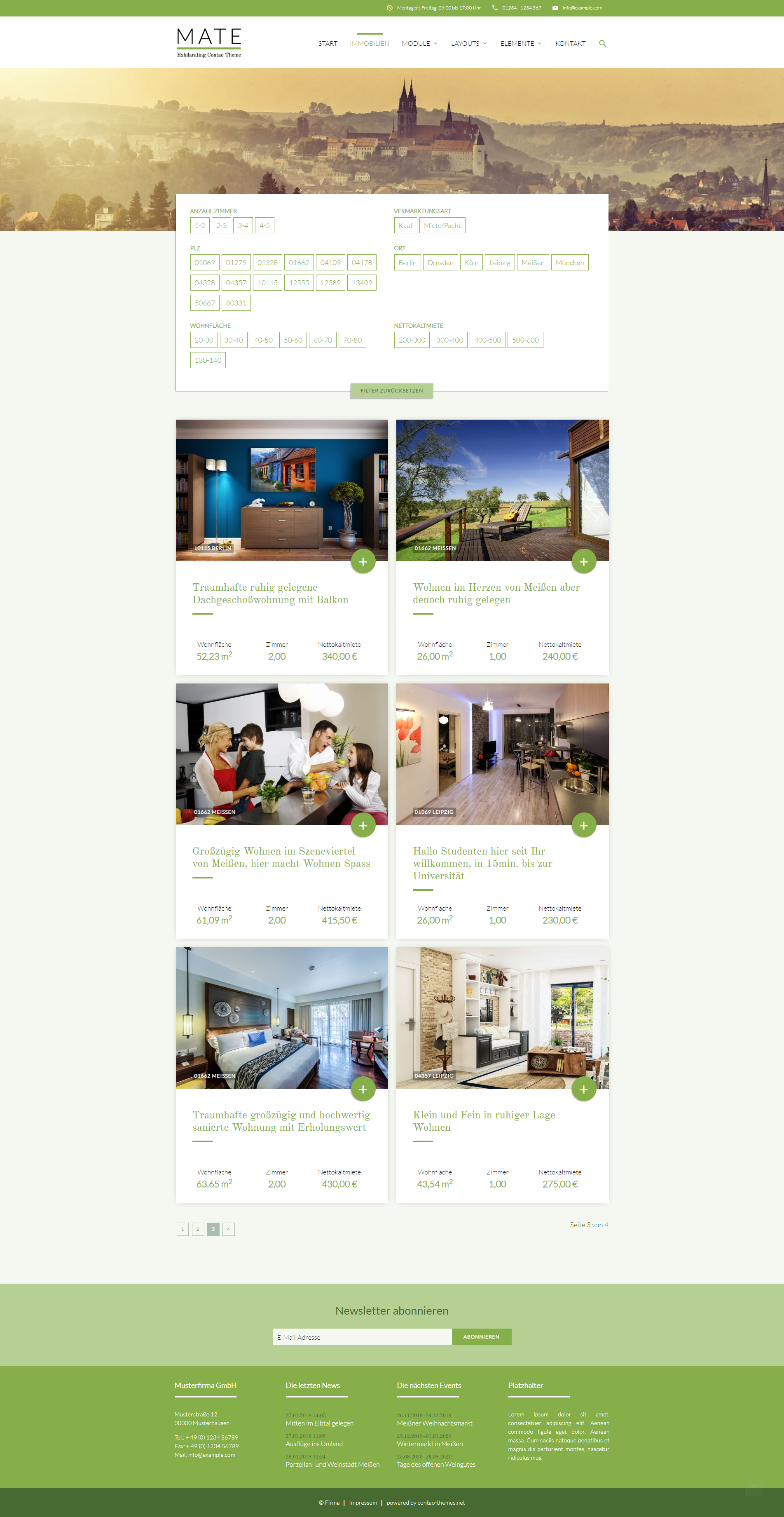 Immobilienliste mit Buttons im MATE Theme
