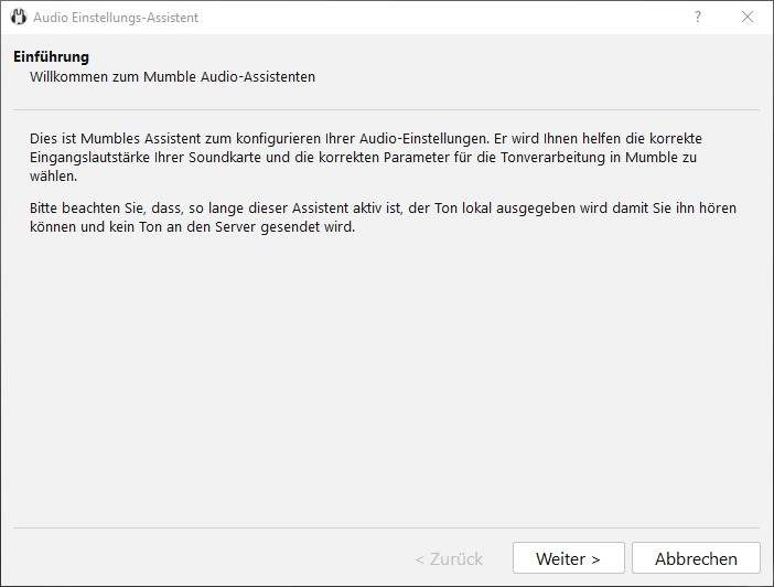 Mumble Audio Einstellungs-Assistent
