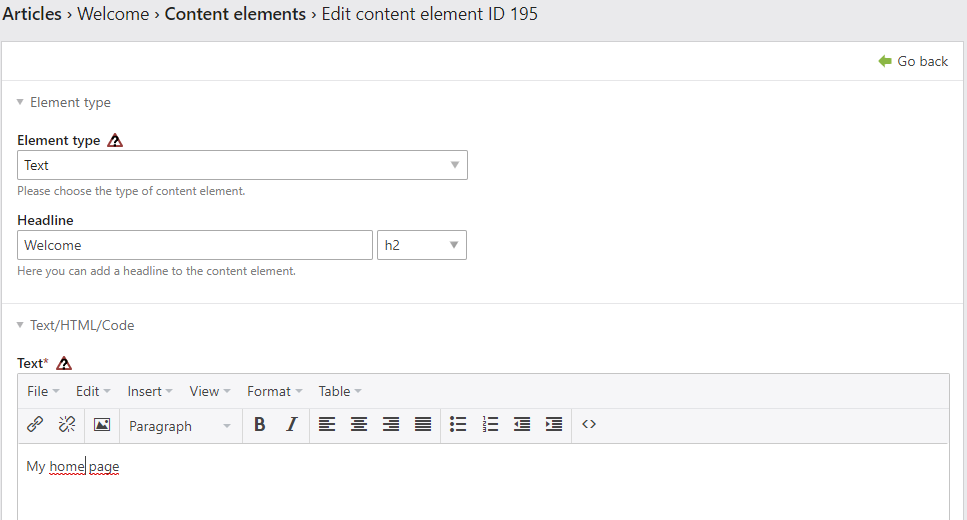 The content element Text