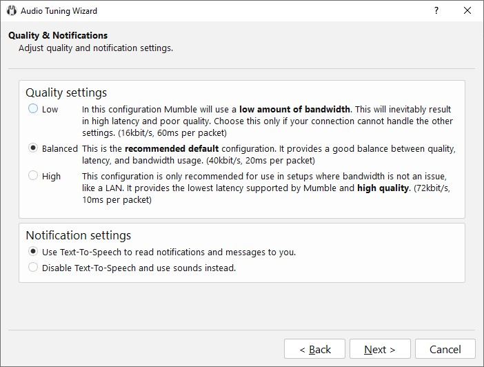 Mumble Audio Settings Wizard Voice Quality