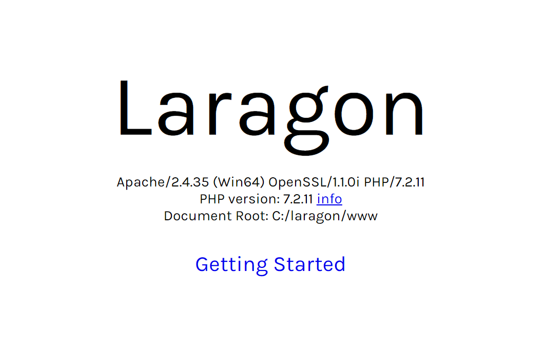 Laragon index page