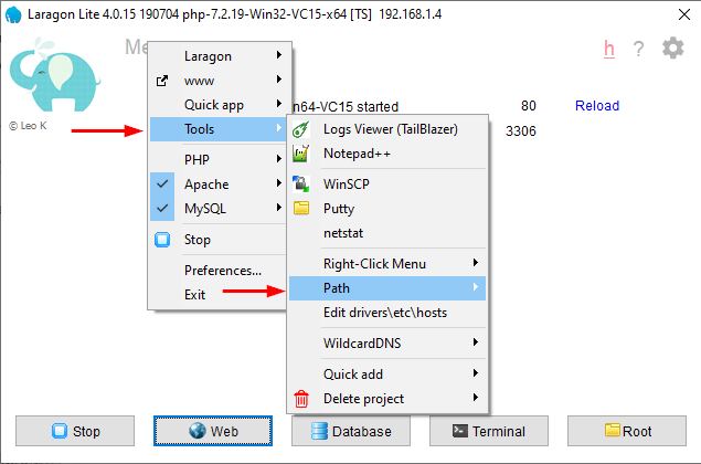 Add Windows environment variable in the Laragon management panel