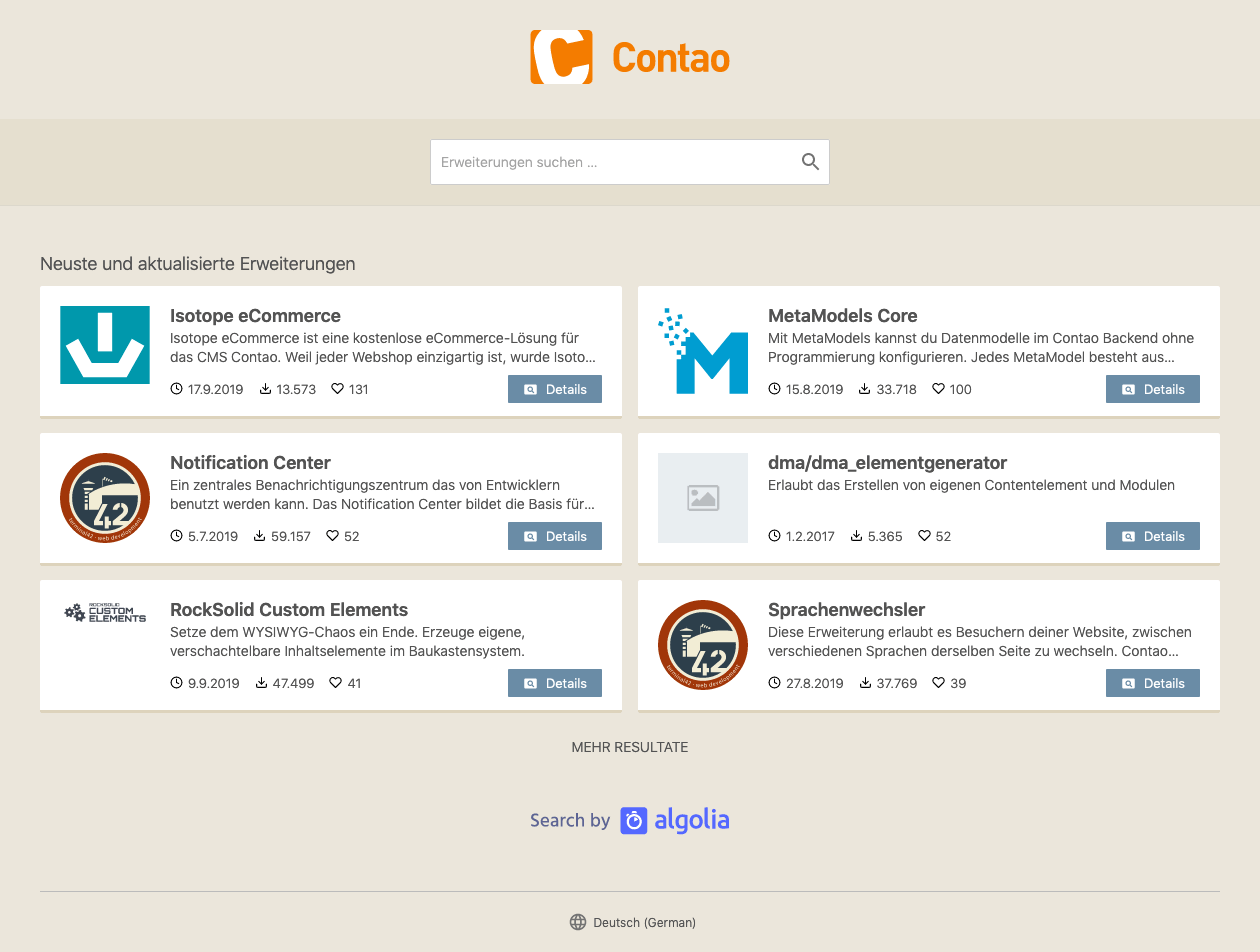 Extensions search on extensions.contao.org