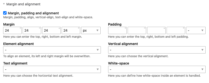 Set the outer distance in the stylesheet editor